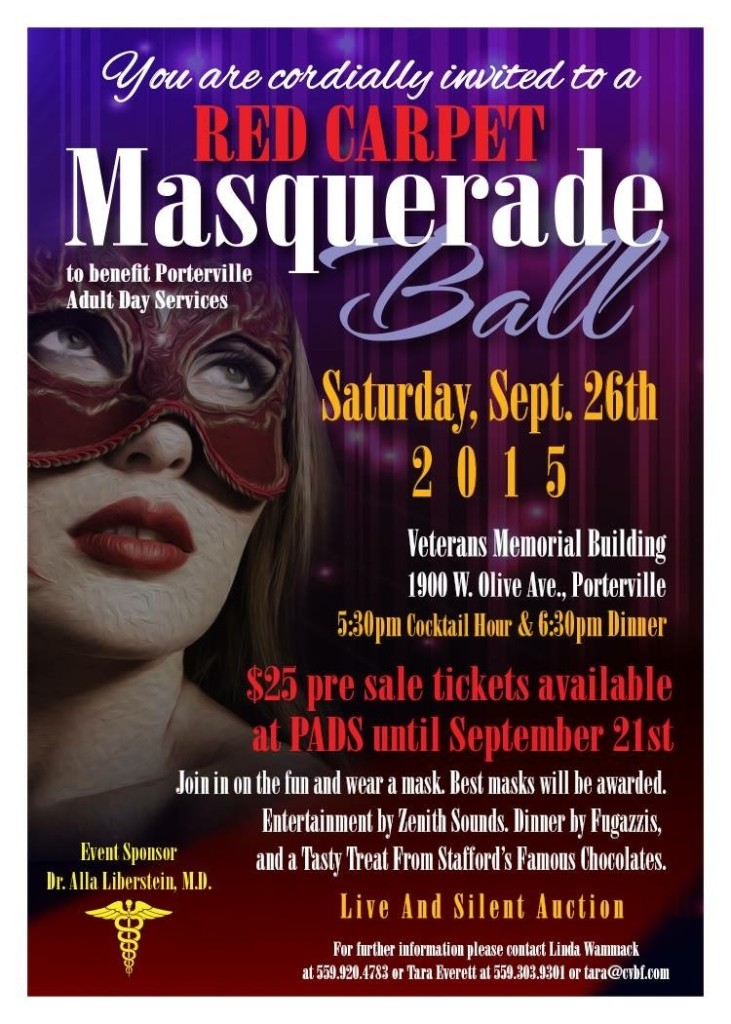 Masquerade Ball Fundraiser for Porterville Adult Day Services